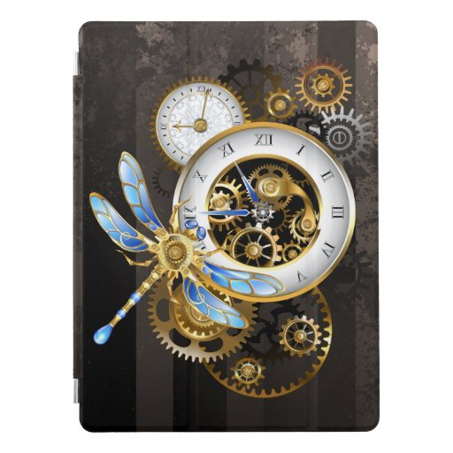 Steampunk Clock with Mechanical Dragonfly iPad Pro Cover
