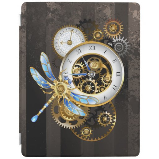 Steampunk Clock with Mechanical Dragonfly iPad Smart Cover