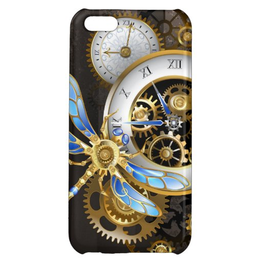 Steampunk Clock with Mechanical Dragonfly Case For iPhone 5C