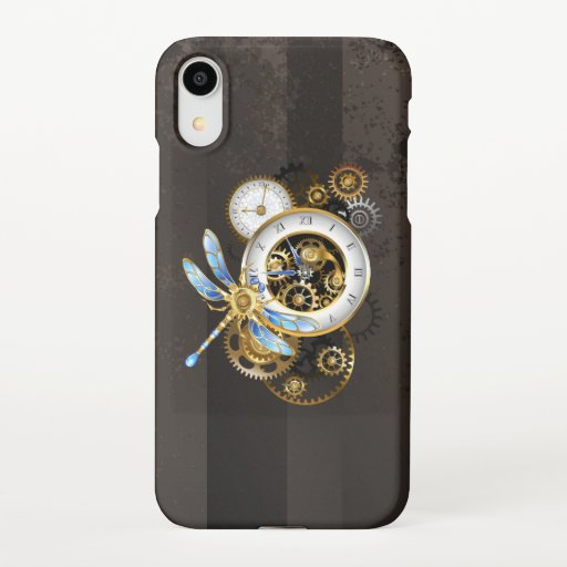 Steampunk Clock with Mechanical Dragonfly iPhone XR Case