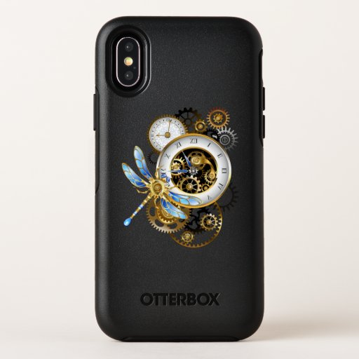 Steampunk Clock with Mechanical Dragonfly OtterBox Symmetry iPhone XS Case