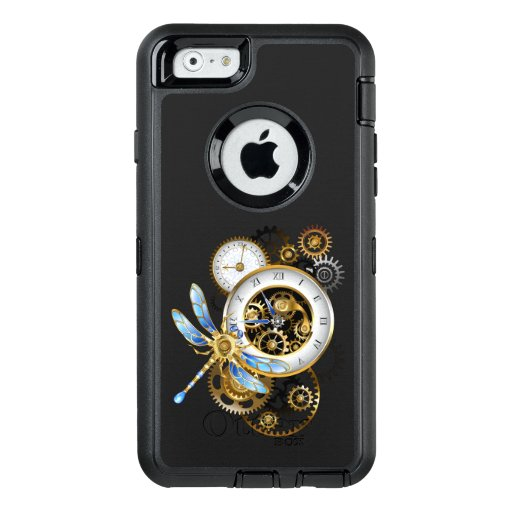 Steampunk Clock with Mechanical Dragonfly OtterBox Defender iPhone Case