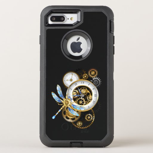 Steampunk Clock with Mechanical Dragonfly OtterBox Defender iPhone 8 Plus/7 Plus Case