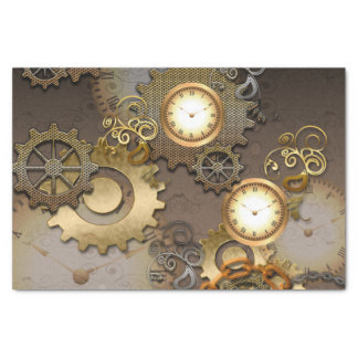 "Steampunk, clocks and gears 10"" x 15"" tissue paper"