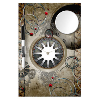 Steampunk, clocks and gears dry erase board with mirror
