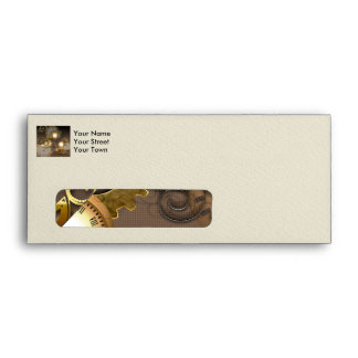 Steampunk, clocks and gears envelopes