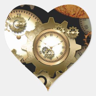 Steampunk, clocks and gears heart sticker