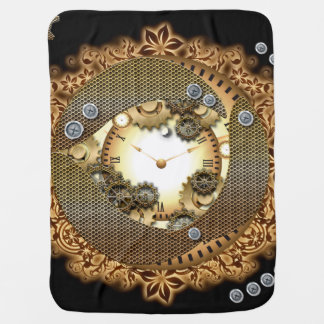 Steampunk, clocks and gears i receiving blanket