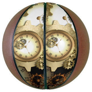 Steampunk, clocks and gears in golden colors basketball