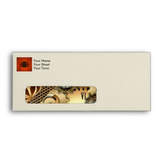 Steampunk, clocks and gears in golden colors envelope