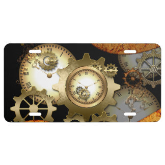 Steampunk, clocks and gears in golden colors license plate