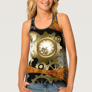 Steampunk, clocks and gears in golden colors tank top