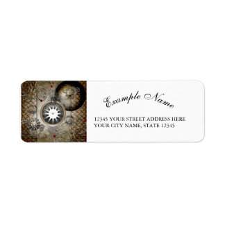 Steampunk, clocks and gears label