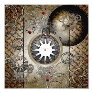 Steampunk, clocks and gears magnetic card