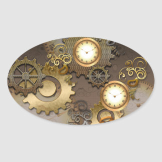 Steampunk, clocks and gears oval sticker
