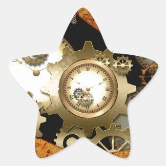 Steampunk, clocks and gears star sticker