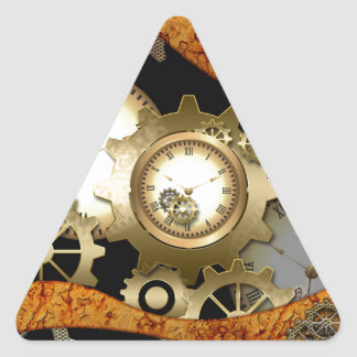 Steampunk, clocks and gears triangle sticker