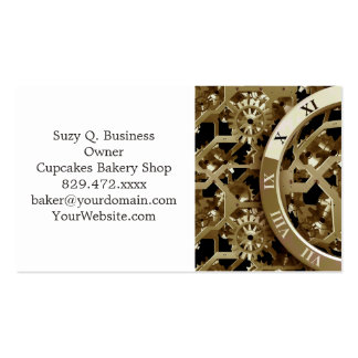 Steampunk Clocks  Gold Gears Mechanical Gifts Double-Sided Standard Business Cards (Pack Of 100)