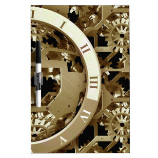Steampunk Clocks  Gold Gears Mechanical Gifts Dry-Erase Board