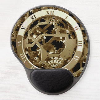 Steampunk Clocks  Gold Gears Mechanical Gifts Gel Mouse Pad