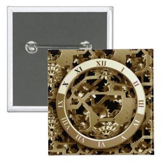 Steampunk Clocks  Gold Gears Mechanical Gifts Pinback Button