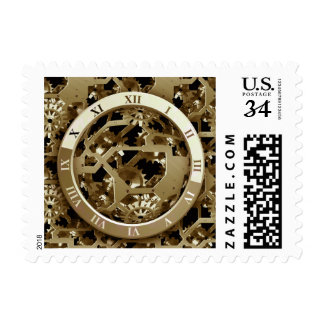 Steampunk Clocks  Gold Gears Mechanical Gifts Postage