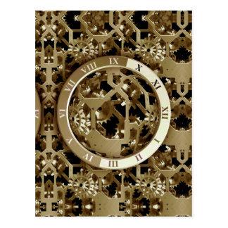 Steampunk Clocks  Gold Gears Mechanical Gifts Postcard