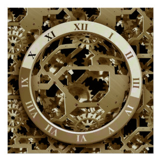 Steampunk Clocks  Gold Gears Mechanical Gifts Poster