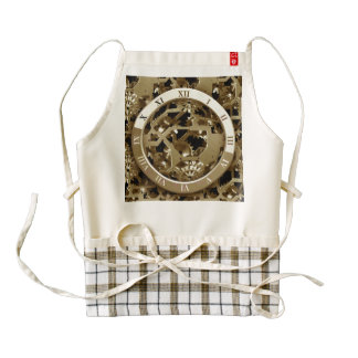Steampunk Clocks  Gold Gears Mechanical Gifts Zazzle HEART Apron