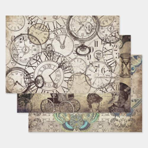 STEAMPUNK CLOCKS & WATCHES HEAVY WEIGHT DECOUPAGE WRAPPING PAPER SHEETS