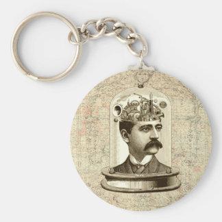 Steampunk clockwork brain head in jar basic round button keychain