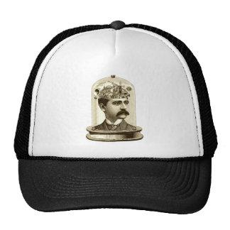 Steampunk clockwork brain head in jar trucker hat