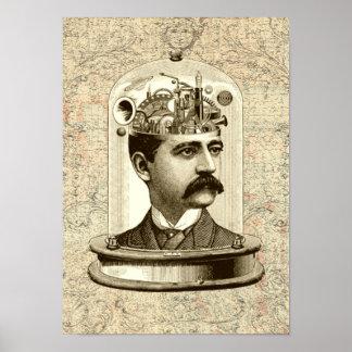 Steampunk clockwork brain poster