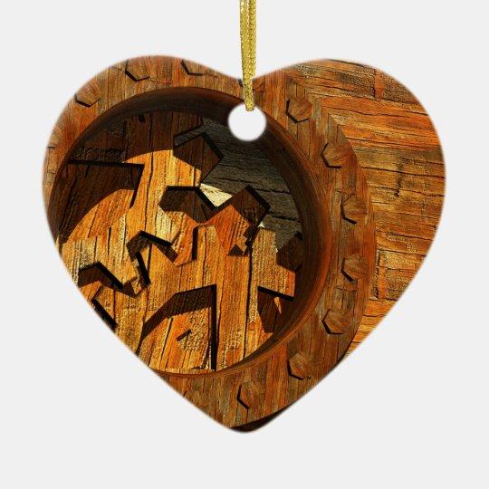 steampunk clockwork ceramic ornament
