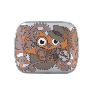 Steampunk Clockwork Owl Jelly Belly Candy Tin