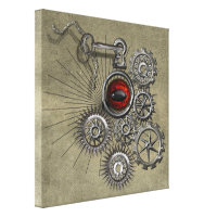 SteamPunk Clockwork Red Eye Quirky Modern Wall Art