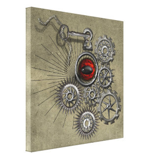 SteamPunk Clockwork Red Eye Quirky Modern Wall Art