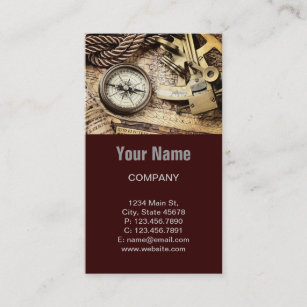 Steampunk Coastal Beach Nautical Antique Compass Business Card