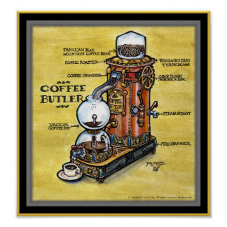 Steampunk Coffee Butler print