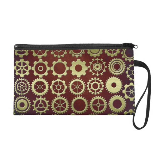 Steampunk Cogs and Gears Bagettes Bag Wristlet Clutch