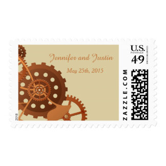 Steampunk Cogs and Gears Wedding Postage Stamp