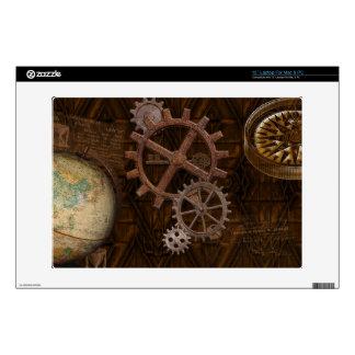 """Steampunk Cogs , Gears & World Globe Design 13"""" Laptop Decals"""