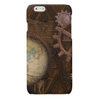Steampunk Cogs , Gears & World Globe Designer Glossy iPhone 6 Case