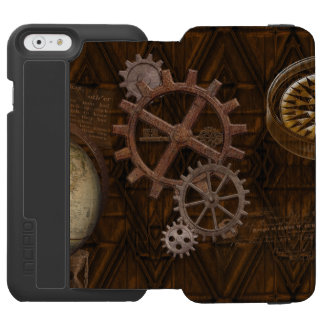 Steampunk Cogs , Gears & World Globe Designer iPhone 6/6s Wallet Case