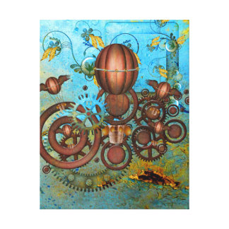 Steampunk Collage Aqua & Copper Canvas Print
