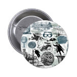 Steampunk Collage Colorized 2 Inch Round Button