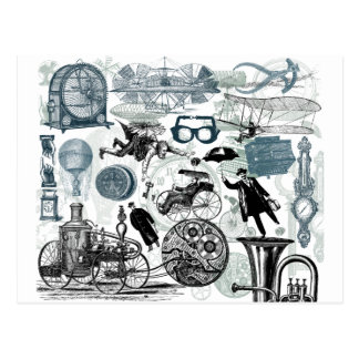 Steampunk Collage Colorized Postcard