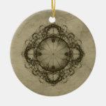 Steampunk compass art Ornament