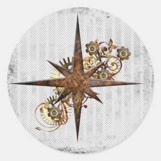 Steampunk Compass Star Grunge Classic Round Sticker