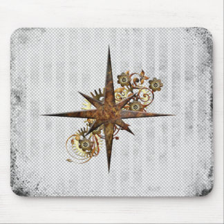 Steampunk Compass Star Grunge Mouse Pad
